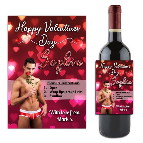 Personalised Sexy Man Valentines Day  Wine / Champagne Bottle Label Gift for her N182